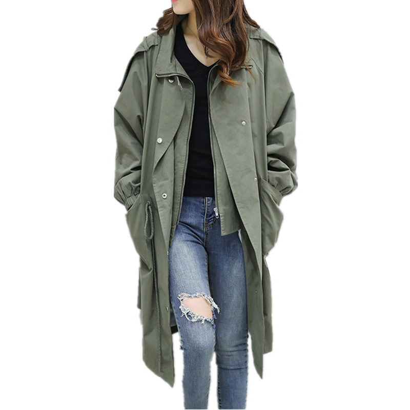 Fashion Women Long   Trench   Coat 2018 Spring Autumn Plus Size Loose Drawstring Waist Windbreaker Outerwear Female Overcoat C68