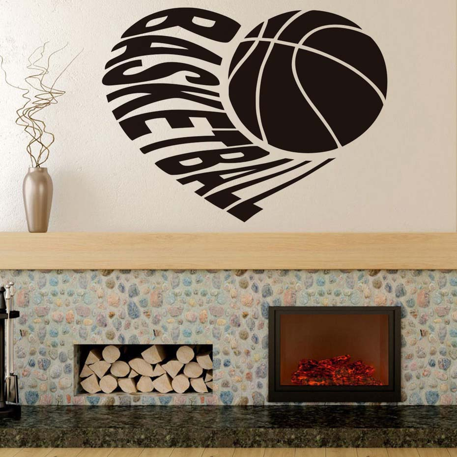 I love basketball vinyl art design black silhouette wall decals i love basketball vinyl art design black silhouette wall decals home decor sports wall stickers for kids rooms waterproof murals in wall stickers from home amipublicfo Image collections