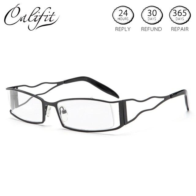 b495337801 CALIFIT Vintage Gafas graduadas mujer Metal Holloww fuera anteojos M Plaza  Alta Calidad 1,67