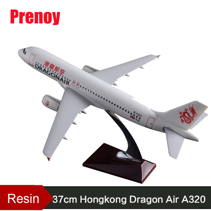 37cm Resin Aircraft Plane Model A320 Hongkong Harbor Dragon Air Airlines Static Model HongKong Harbor Dragon Aviation Airbus Toy купить