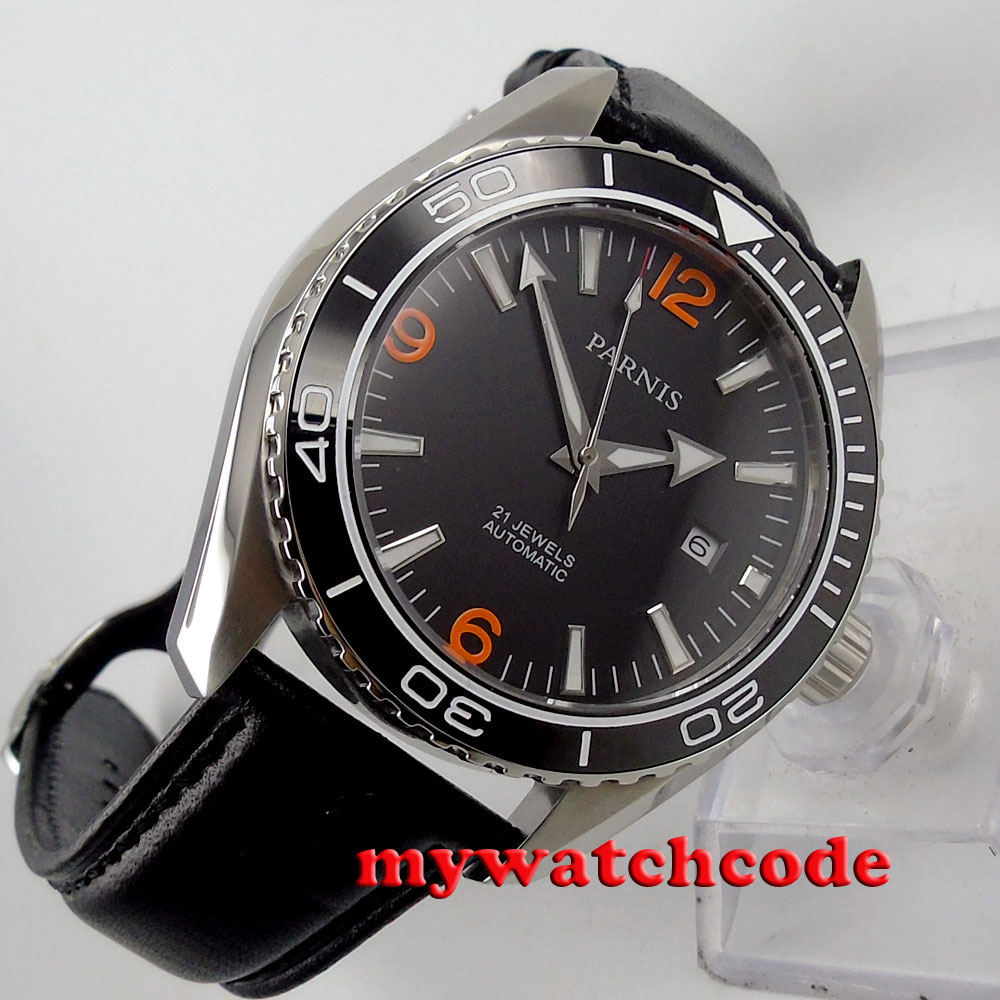 45mm Parnis black dial Ceramic Bezel 21 jewels miyota Automatic mens Watch P388B