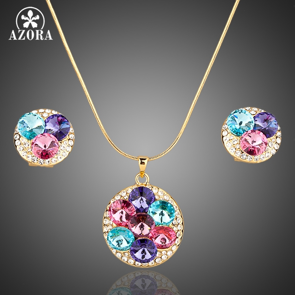 AZORA Gold Color Multicolour Austrian Crystals Stud Earrings and Pendant Necklace Jewelry Sets TG0003 azora lotus rose gold color 1 pair stud earrings and 1pcs necklace fashionable jewelry set for women cute christmas gift tg0273