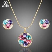 Азора золото Цвет разноцветный Австрийские кристаллы Серьги-гвоздики и кулон Цепочки и ожерелья Ювелирные наборы TG0003