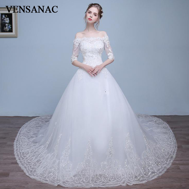 VENSANAC 2018 Boat Neck Sequined Ball Gown Wedding Dresses Lace Appliques Half Sleeve Court Train Backless Bridal Gowns