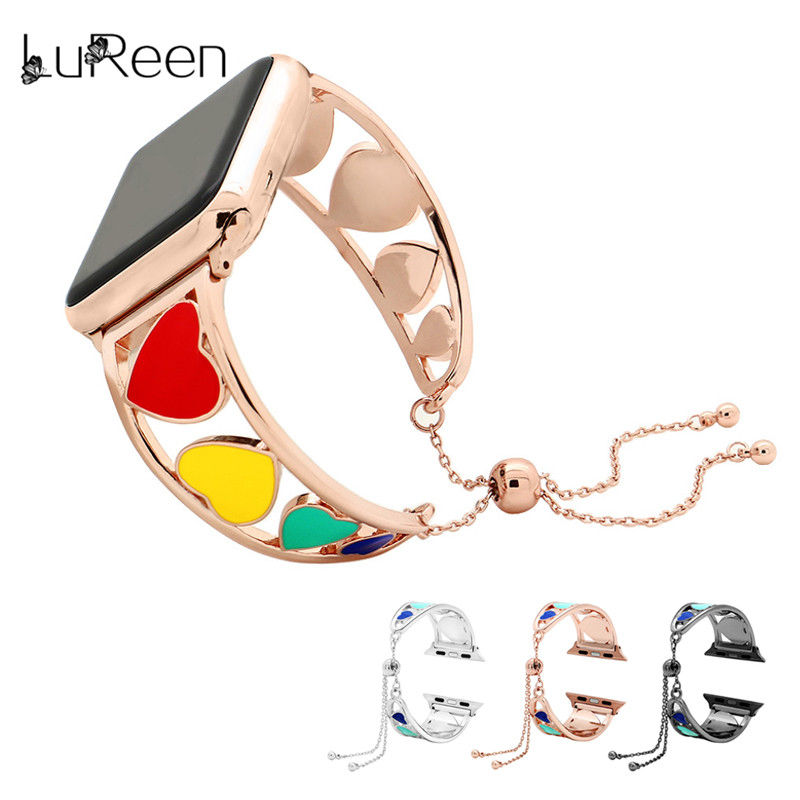 LuReen Stainless Steel Watchband For iWatch Rainbow Color Watch Strap 38mm 42mm Adjustable Apple Watch Band Bracelet Women in Watchbands from Watches