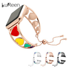 LuReen Stainless Steel Watchband For iWatch Rainbow Color Watch Strap 38mm/42mm Adjustable Apple Band Bracelet Women