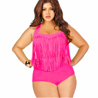 Trangel Plus Size 4XL Bikini Vintage Long Line Tassel Fringe Women Female High Waist Swimsuit Wear