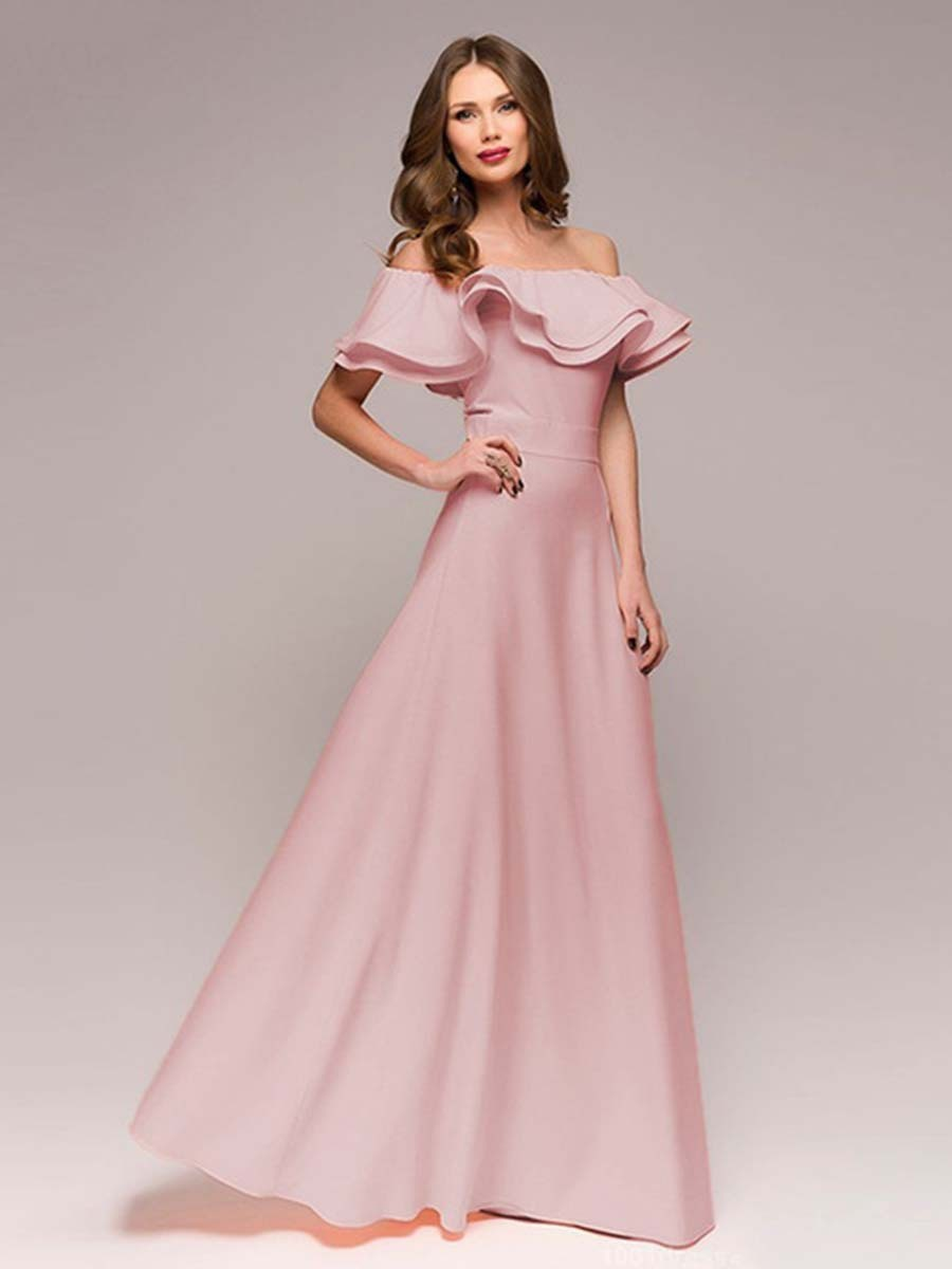 New Simple Pink   Prom     Dress   A-Line Off The Shoulder Petal Sleeves Chiffon Party Gown Female Ruffles   Prom   Long Elegant   Dresses
