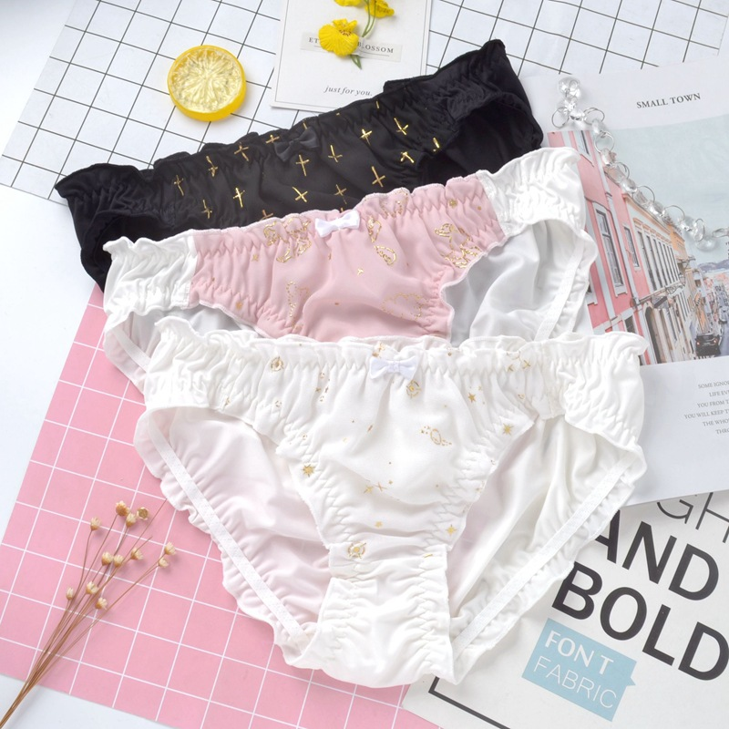 SP&CITY Lolita Ruffle Bow Lace Panties Cute Seamless Underwear For Women Sexy Golden Print Cotton Briefs Kawaii Female Lingerie