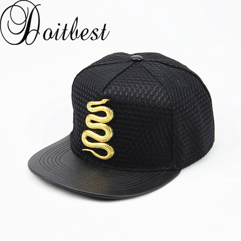 2017 Summer Baseball Cap Brand Golden snake Hat For Men Women Casual Bone Hip Hop Snapback Caps Metal Logo Sun Hats miaoxi fashion women summer baseball cap hip hop casual men adult hat hip hop beauty female caps unisex hats bone bs 008