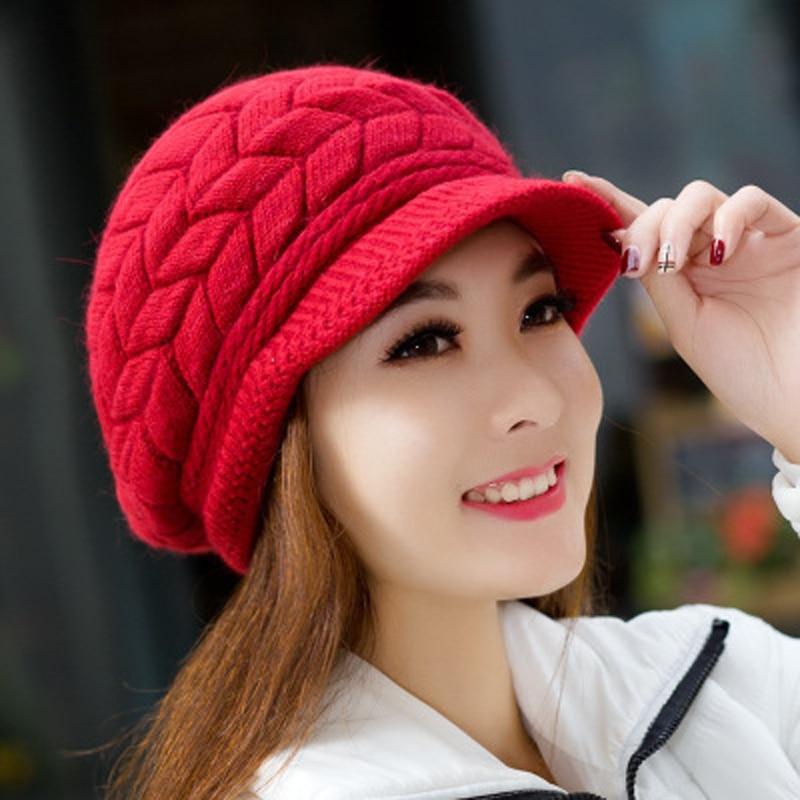 Fashion Elegant Women s Hat Knitted Hats Brim Caps Beanie Bonnet Femme  Skullies Warm Winter Hats for 8a08bb5f77