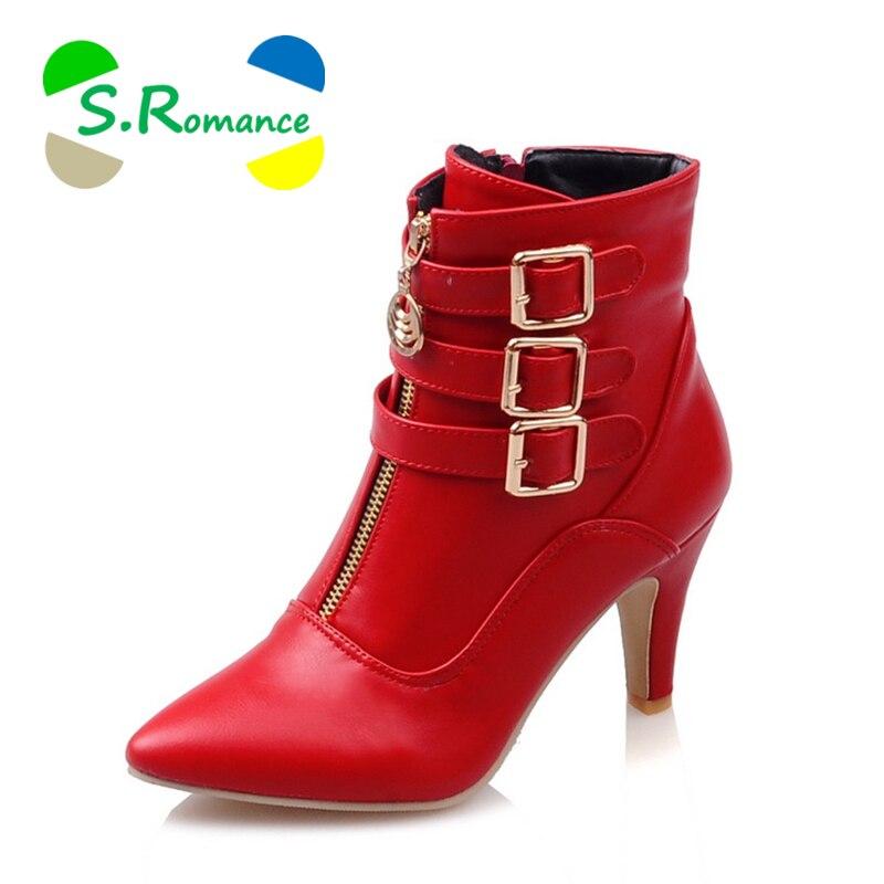 S. romans kobiety kostki buty Plus rozmiar 34 43 wysokie obcasy Pointe Toe klasyczne moda biurowe pompy buty kobieta czarny biały czerwony SB001 w Buty do kostki od Buty na  Grupa 1