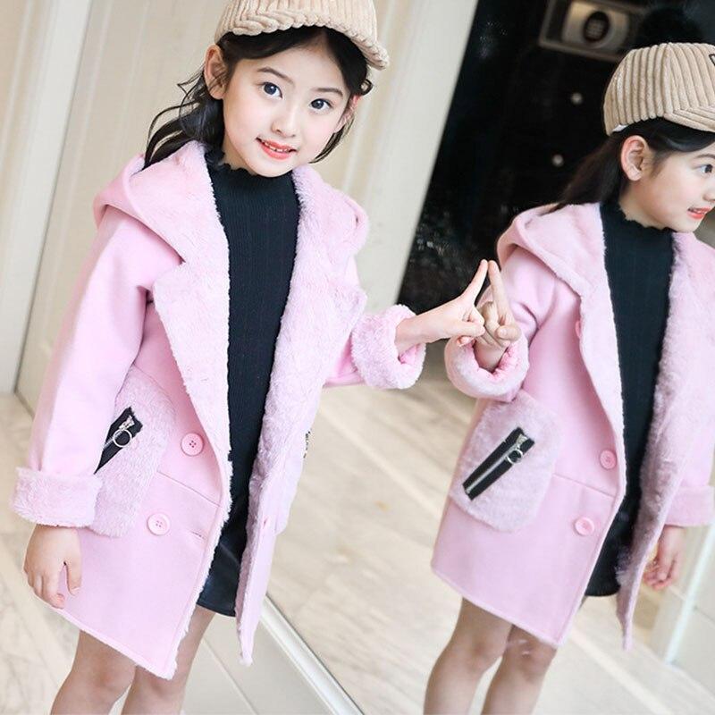 2018 new winter Children's outerwears clothing fleece coat baby big girls hooded woolen jackets for kids thick long warm coats