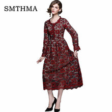 SMTHMA 2019 Spring Women Floral Lace Dresses Long Sleeve Casual Round neck Blue wine red Party Dress S-XXL Vestidos(China)