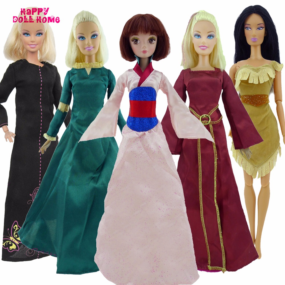 Fairy Tale Princess Dress For Merida Mulan Toy Costume Outfit Colorful Clothes For Barbie FR Kurhn Doll 11.5 12 Accessories