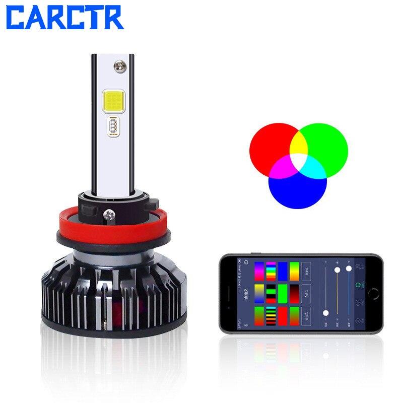 CARCTR New Car Led Fog Lights RGB 7 Colors Voice Control APP Bluetooth Control Super Bright