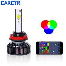 CARCTR Новый Автомобильный светодиодный Противотуманные фары RGB 7 цветов Голосовое управление приложение Bluetooth управление супер яркий модифицированный Автомобильный светодиодный фары 40003