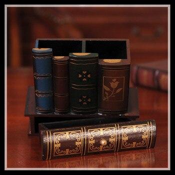Multifunction  Retro Wooden Pen Holder Book Shape Wood Craft Home Decor Pencil Desktop Storage Box Stationery Holder ElimElim