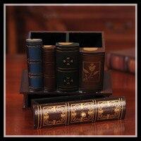 Multifunzione Retro Wooden Pen Holder Libro Forma Mestiere Legno Home Decor Matita Desktop Storage Box Cancelleria Del Supporto ElimElim