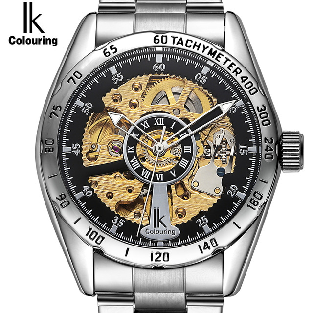 IK Roman numeral scale Automatic Self-Wind Watches men Hollow Pointer Digital meter circle Hardlex business men's watch 4165 цены