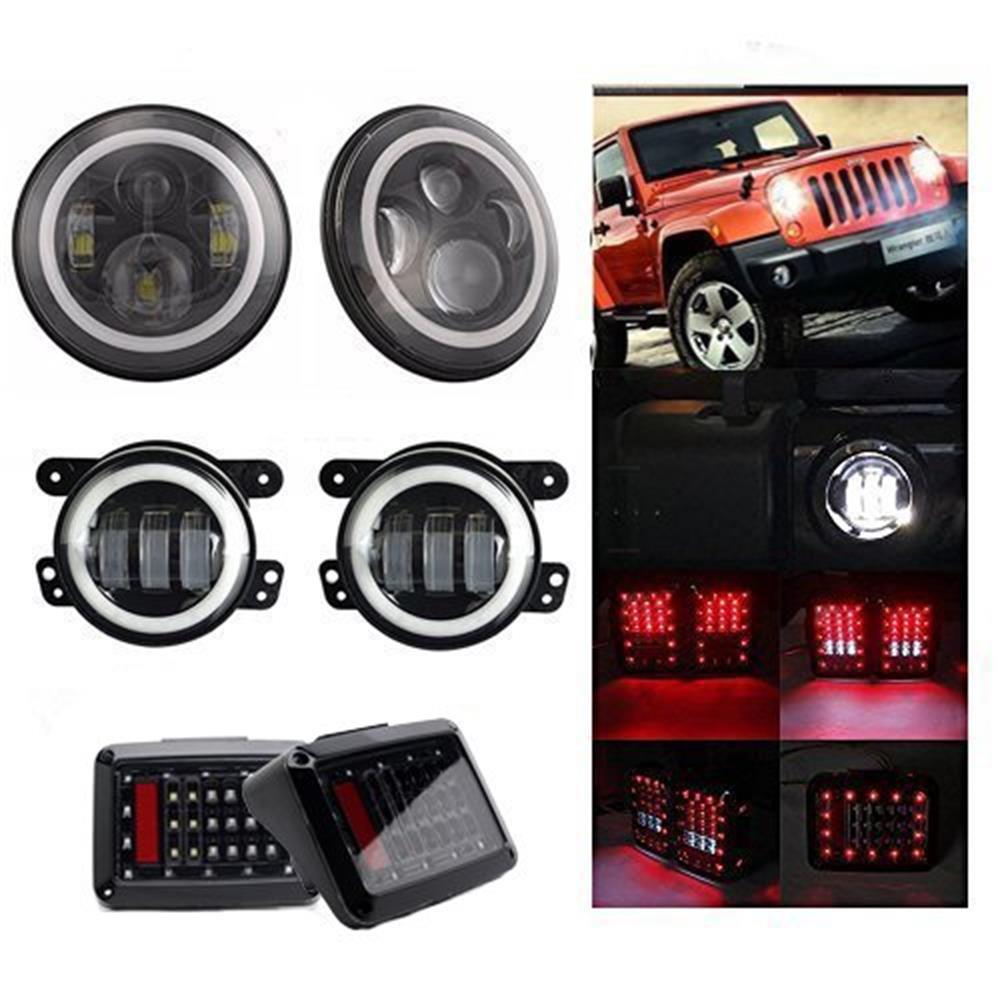 7-дюймовый круглый светодиодные фары гало реле DRL Янтарь сигнала поворота + 4 дюймовый Белый ореол Вранглер JK Противотуманные фары + задние фонари для Jeep