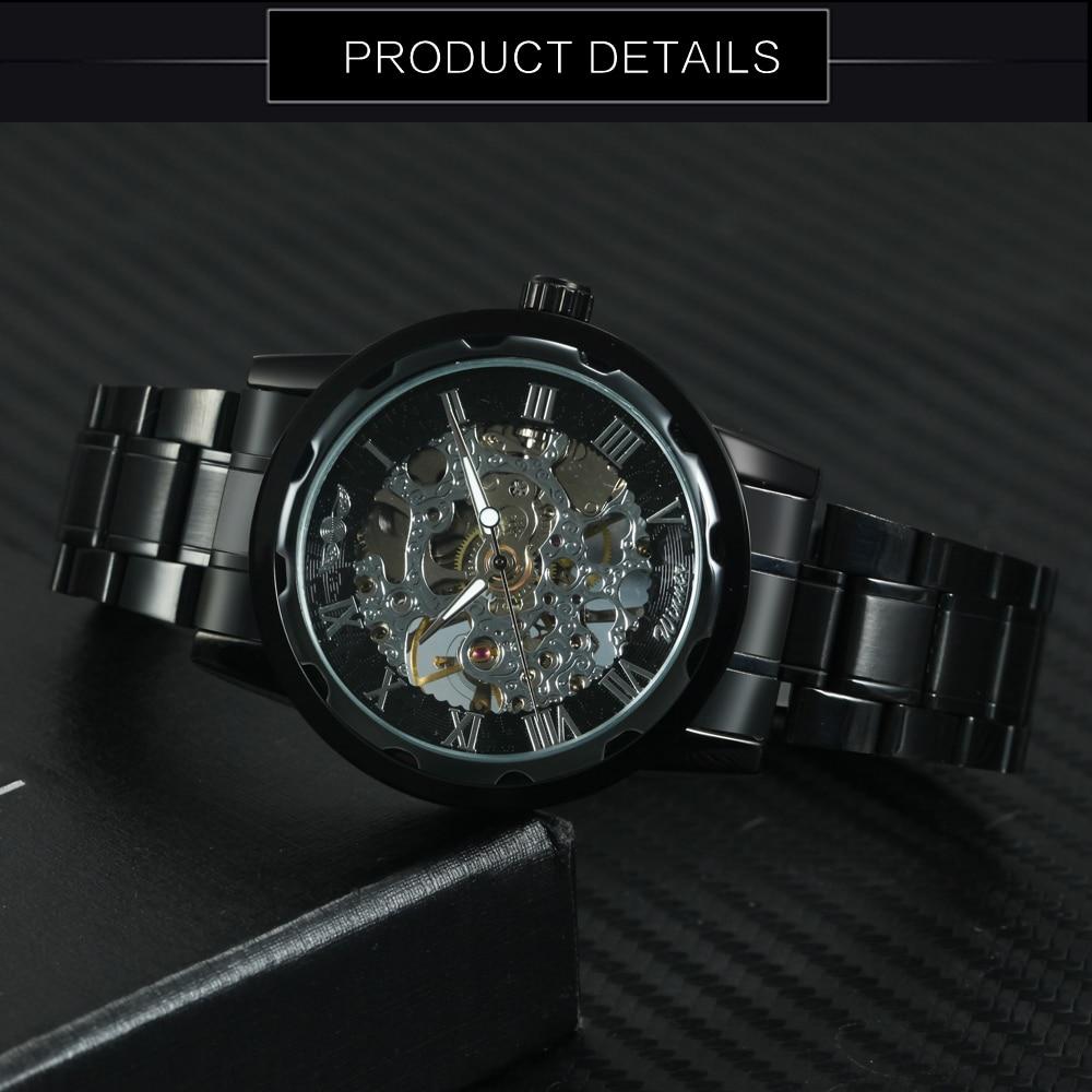 HTB1Y55kN3HqK1RjSZFgq6y7JXXaO 2019 WINNER Mechanical Watches For Men Hand-wind Steel Watches Roman Number Skeleton Wristwatches Luminous Hands reloj hombre