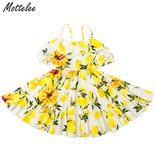 Girls Dress Shoulderless Kids Beach Dresses Lemon Printed Strap Baby Sundress Sleeveless Children Clothing Party Frocks for Girl