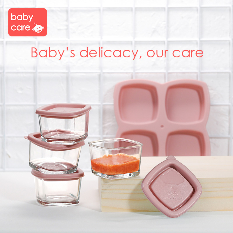 BabyCare 4Pcs/Set Baby Food Glass Crisper Baby Food Milk feeding Storage box Infant Food Storage Portable tray Tableware Set