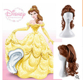 2016 Free Shipping Princess belle wig Cosplay wig Movie Beauty and The Beast Cos Wigs Brown Ponytal Curly Hair Best Hot Sale