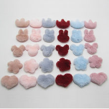 Small size 40pcs/lot Multi Color Furry Felt Padded Heart/Star/Crown Appliques for DIY Handmade Children's hair Clip Accessories(China)