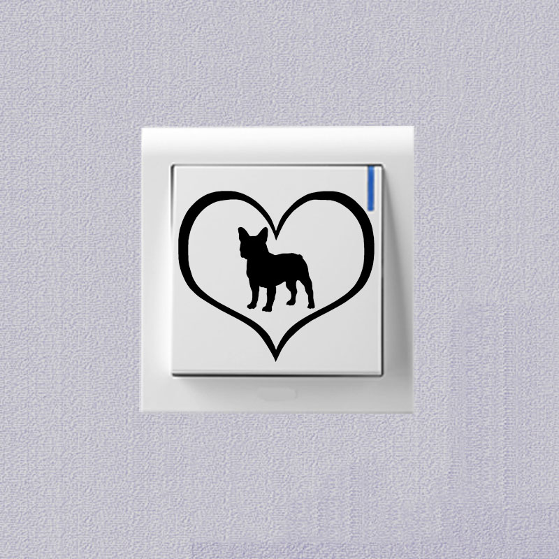 French Bulldog Dog Switch Sticker Cartoon Animal Pet Dog Decorative Decals 2SS0775