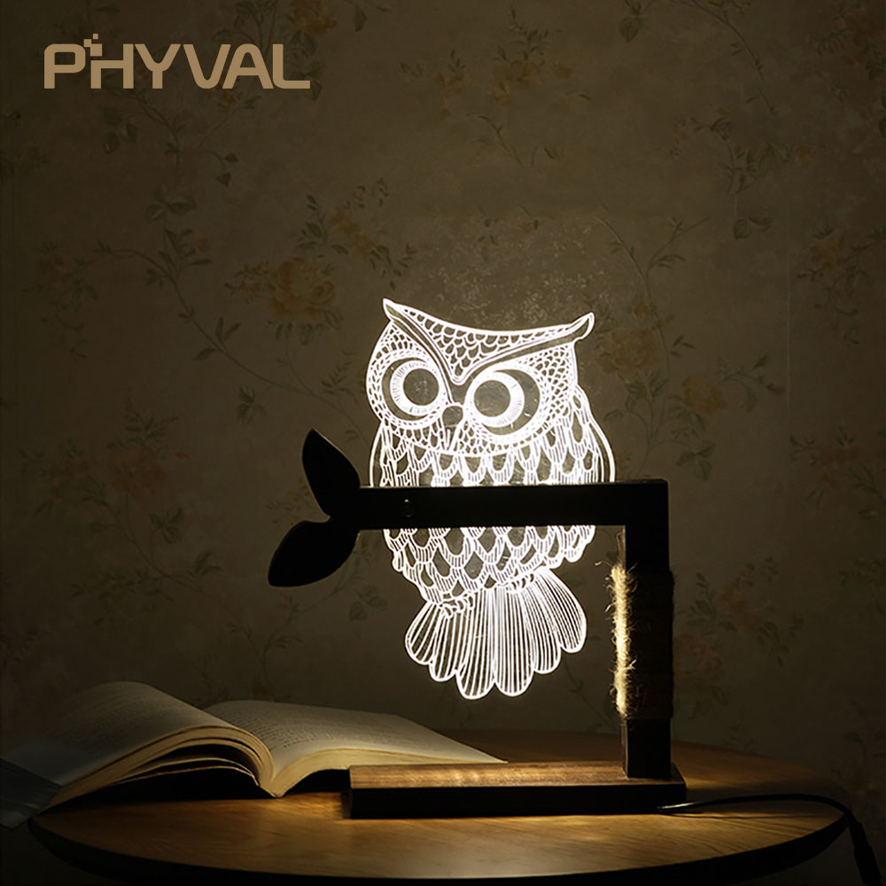 3D Light Print Owl Lamp Bedroom Bedside Light Children Party Toy Table Lamp Led Night Light Home Decor Creative Gift Acrylic adjustable owl shaped 3d wooden stand lamp night light bedroom table desk lamp warm white lighting plug connector home decor