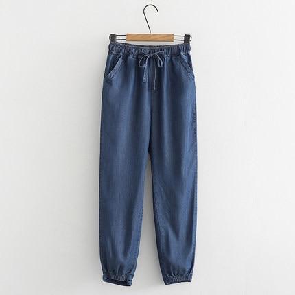Suave Azul Tencel De Lithe Blue Acogedor Ropa Jeans Lápiz Pantalones Sueltos Ol Cintura Delgada Mujer Newlu Elástica Makuluy Chic Oz8FqwzH