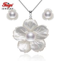 FEIGE Exclusive design White Petal shape Shell carving Pearl Pendant Necklace And Drop Earrings Jewelry Sets Girl Fashion Jewel