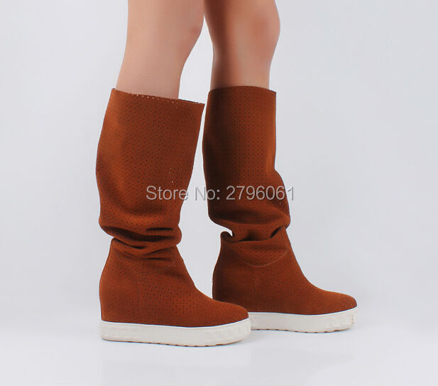 где купить  Cut-outs Cheap Sale Summer Sandal Boots Height Increasing Round Toe Slip-on Boots Wedge Suede Women Boots Promotion  по лучшей цене