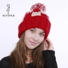 RITOPER ручной Цвет одинаковая решетки 8 слово Твист Большой шерстяными помпонами женские осенние и зимние, вязаные, теплые шапочки шляпа