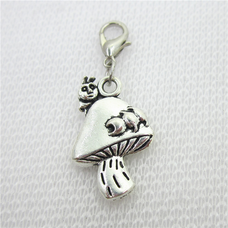 20pcs/lot Mushroom Dangle Charms Lobster Clasp Hanging Charms DIY Bracele&bangles Jewelry Accessory