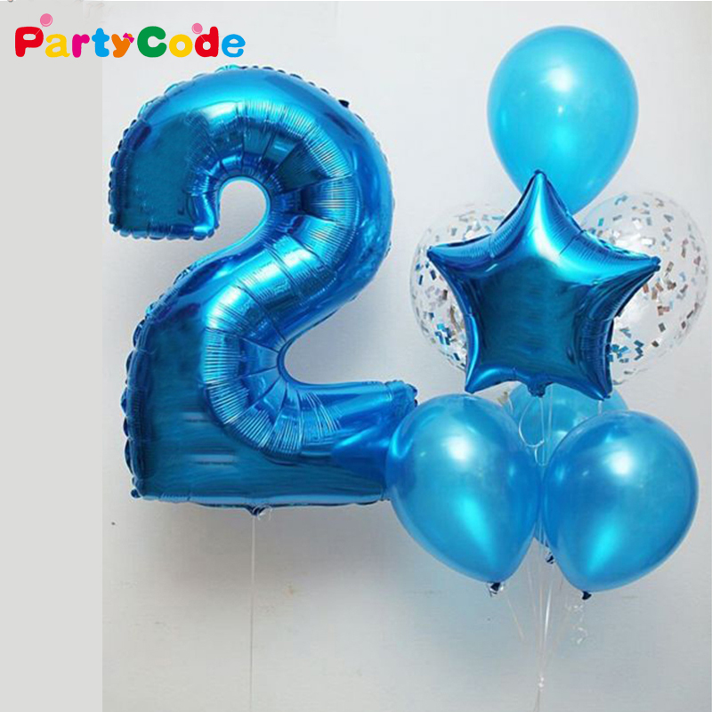 40inch Blue Number Balloons Birthday Party Balloons Foil