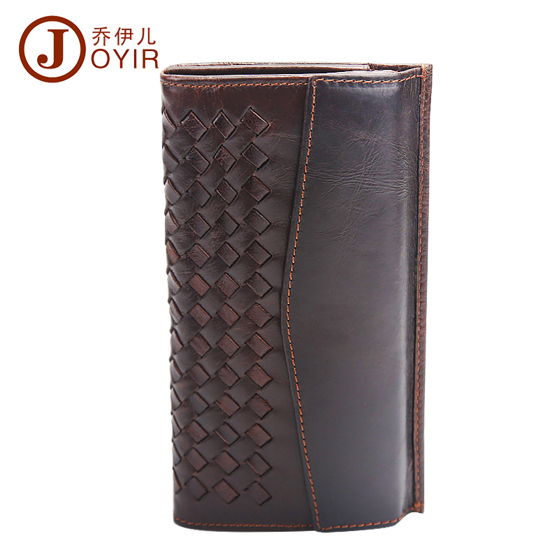 ФОТО 2017 New Genuine Leather Men Long Knited Wallet Clutch Casual Money Card Holder Handbag Vintage Coin Purse Wallet For Man 9006
