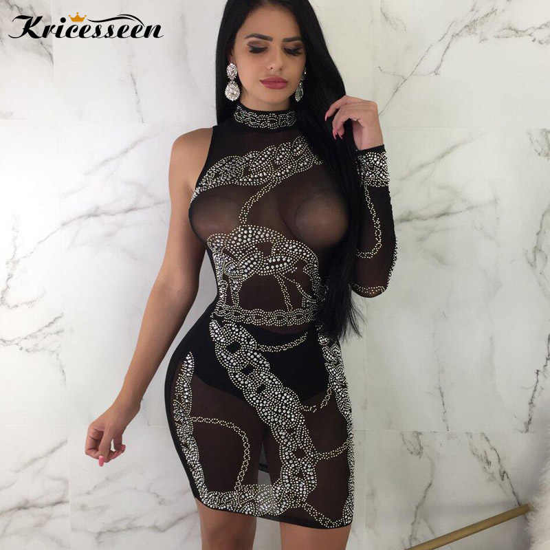 Kricesseen Sexy Women One Sleeve Round Collar Strking Mini Dress Black Mesh  Patchwork Nightclub Party Bodycon 28896133f91e