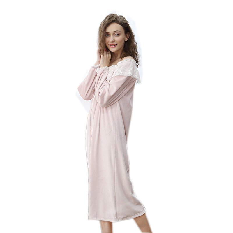 Autumn casual nightdress for women Polka collar lace   nightgowns     sleepshirts   100% relaxed comfort fresh simple Women home dress