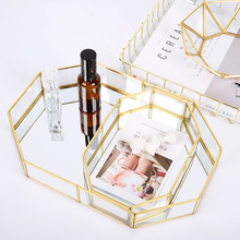 Nordic Glass Copper Geometry Storage Box For Simplicity Style Home Organizer Jewelry Cosmetic Decoration Retro Tea Tray