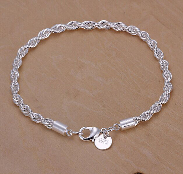 925 Sterling Silv Simple Silver Bracelet Charms Crystal Femme Chain Bracelets For Women Jewelry