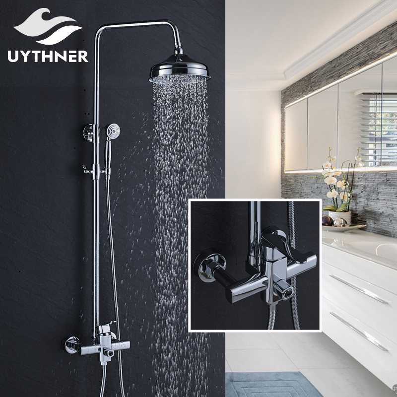 Newly Rainfall 8 Inch Shower Head Bath Shower Mixer Faucet Shower Set Faucet with Hand Shower Chrome Polished цена