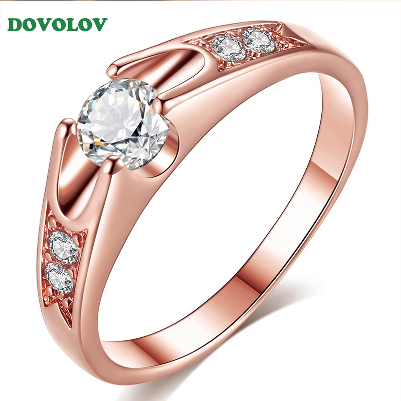 Dovolov Gold Classical CZ Crystal Wedding Ring Rose Gold Color Austrian Crystals Engagement Wedding Ring Gift For Women D3