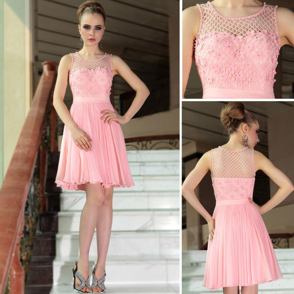 Petite Gowns For Weddings: Brand Pink Flower Short Petite Women Formal Party Prom