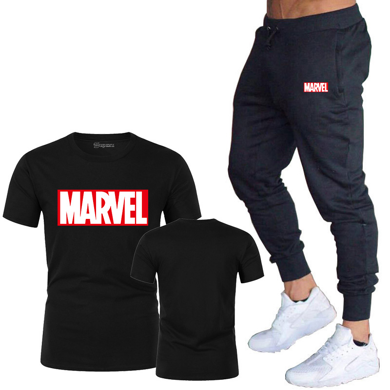 HTB1Y57DJ3HqK1RjSZFkq6x.WFXaD New summer hot brand sale men's MARVEL suit T shirt + pants two piece casual sportswear printing shirts gym fitness pants 2019