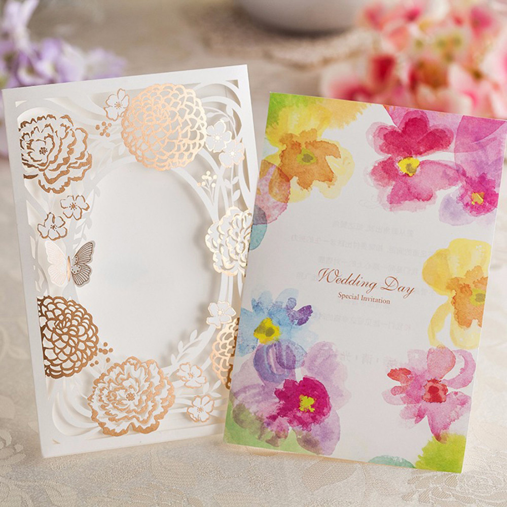 100pcs Personalized Colorful Wedding Invitations Laser Cut Flowers ...