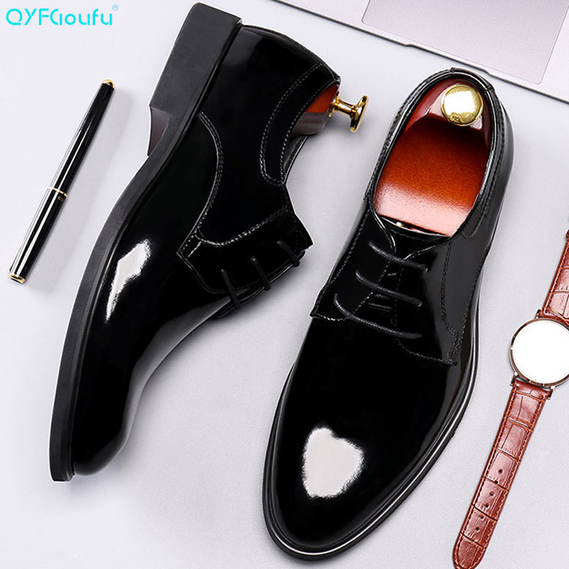QYFCIOUFU The New Patent Leather Men Dress Shoes England Genuine Oxford Pointed Wedding Lace-up Toe
