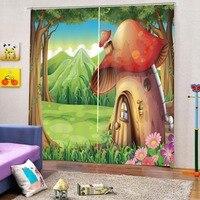 3D Curtains Mushroom house Kid room living room bedroom blackout curtains home goods curtains